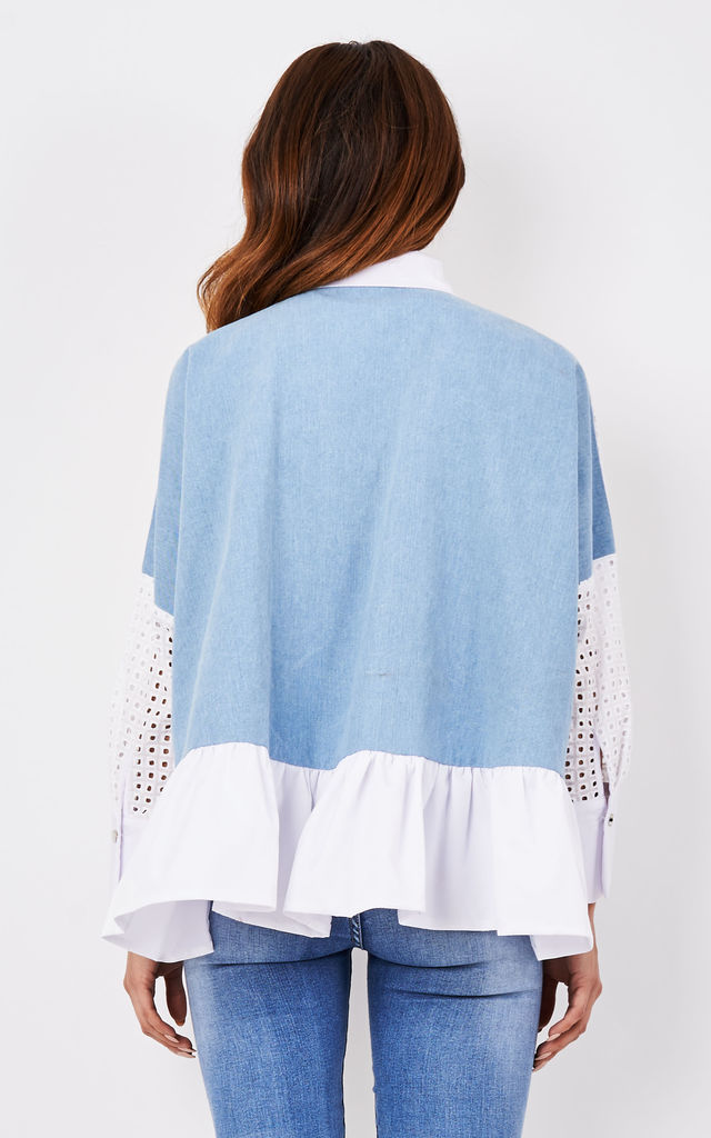 White Eyelet Denim Shirt with Diamante by CiCi