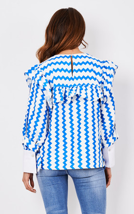 Blue Zigzag Top with Frill by CiCi
