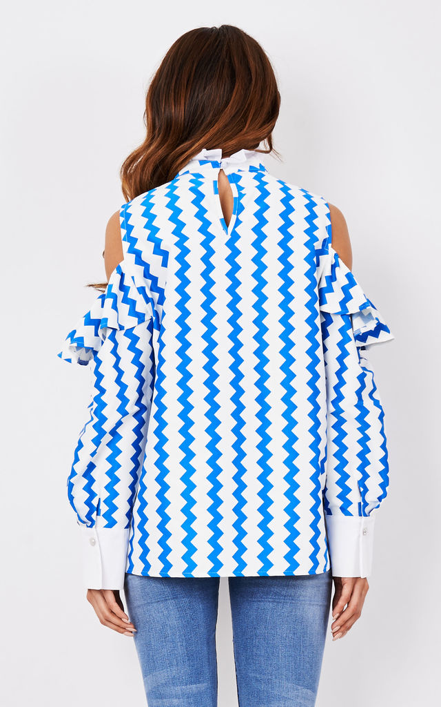 Blue Zigzag Off Shoulder Top with Frill by CiCi