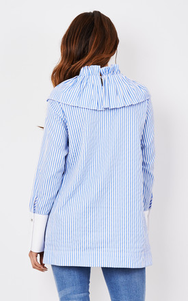 Blue Stripe Top with Pleat Details on Shoulders by CiCi