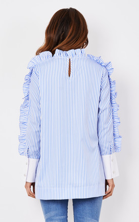 Blue Stripe Top with Rose Motif by CiCi