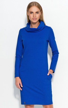 Blue Casual Dress with Tourtleneck by Makadamia