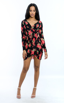 Floral Print Long Sleeve Wrap Dress - Black by Npire London
