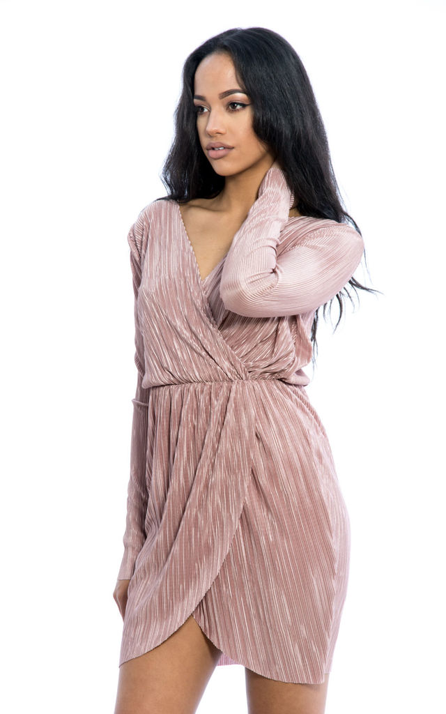 Pleated Long Sleeves Wrap Over Dress - Nude by Npire London