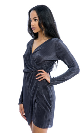 Pleated Long Sleeves Wrap Over Dress - Grey by Npire London