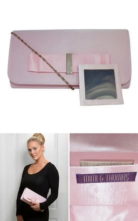 Pink Satin Double Bow Clutch Bag with Mirror by Mimi & Thomas®