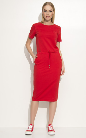Red Simple Casual Drawsstring Waist Dress by Makadamia