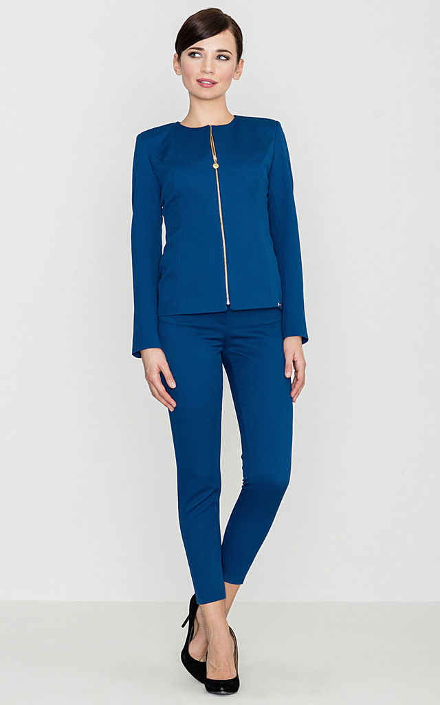Blue Cropped Trousers with Back Zips by LENITIF