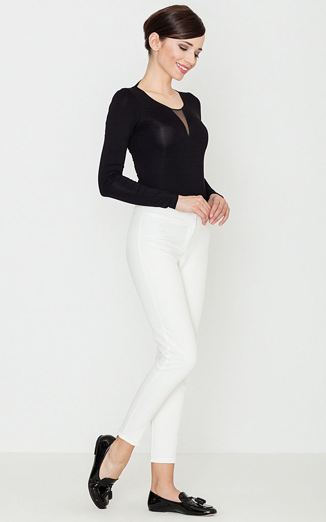Skinny Cropped Trousers in white by LENITIF