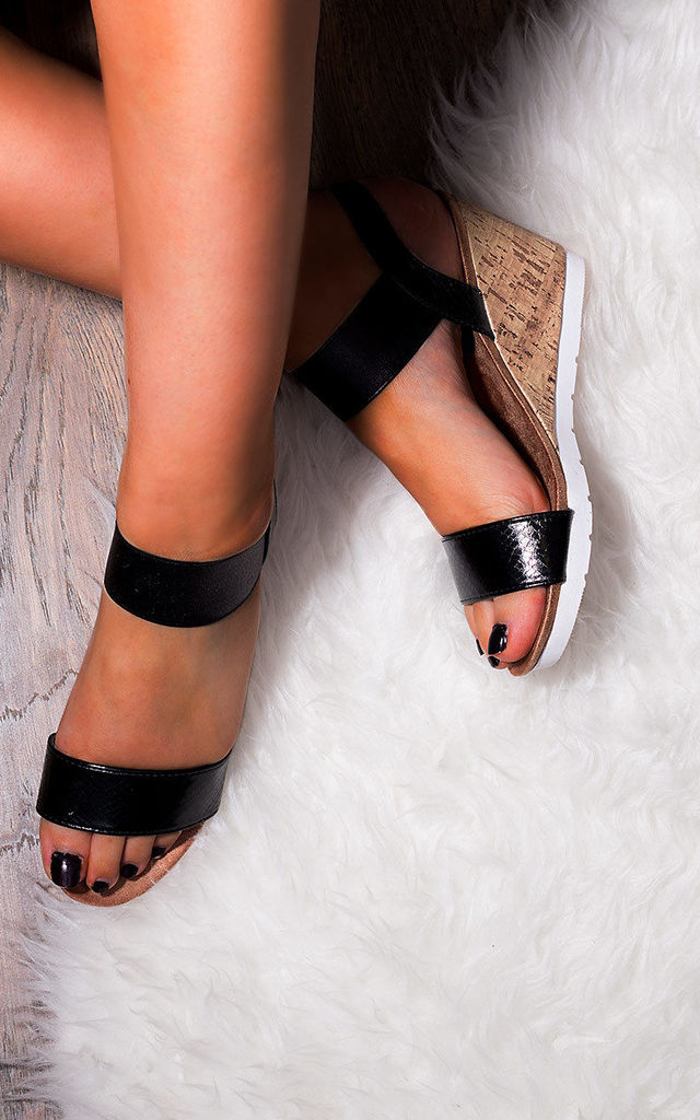 CHANTELLE Open Peep Toe Wedge Heel Barely There Sandals Shoes - Black Leather Style by SpyLoveBuy