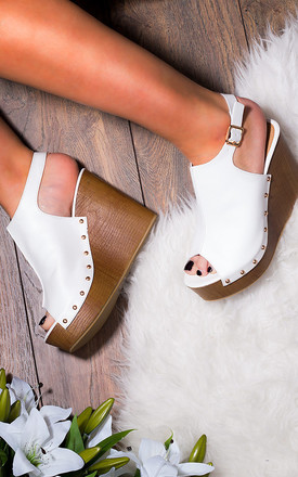 WOWED Platform Croc Print Wedge Heel Sandals Shoes - White Leather Style by SpyLoveBuy