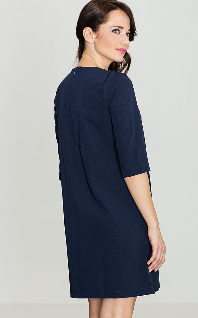 Navy Blue Dress with Pockets by LENITIF