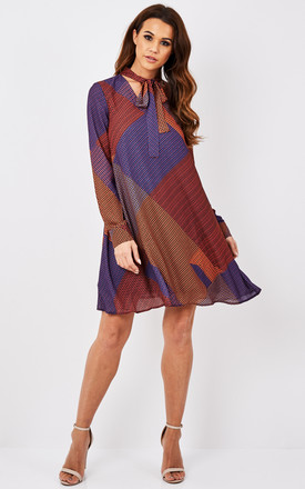 Tie Neck Printed Dress by URBAN TOUCH