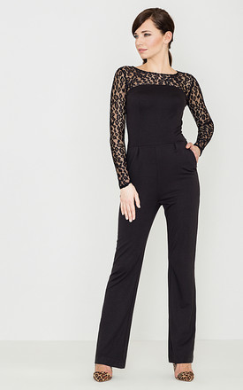Black Lace Sleeve Jumpsuit by LENITIF