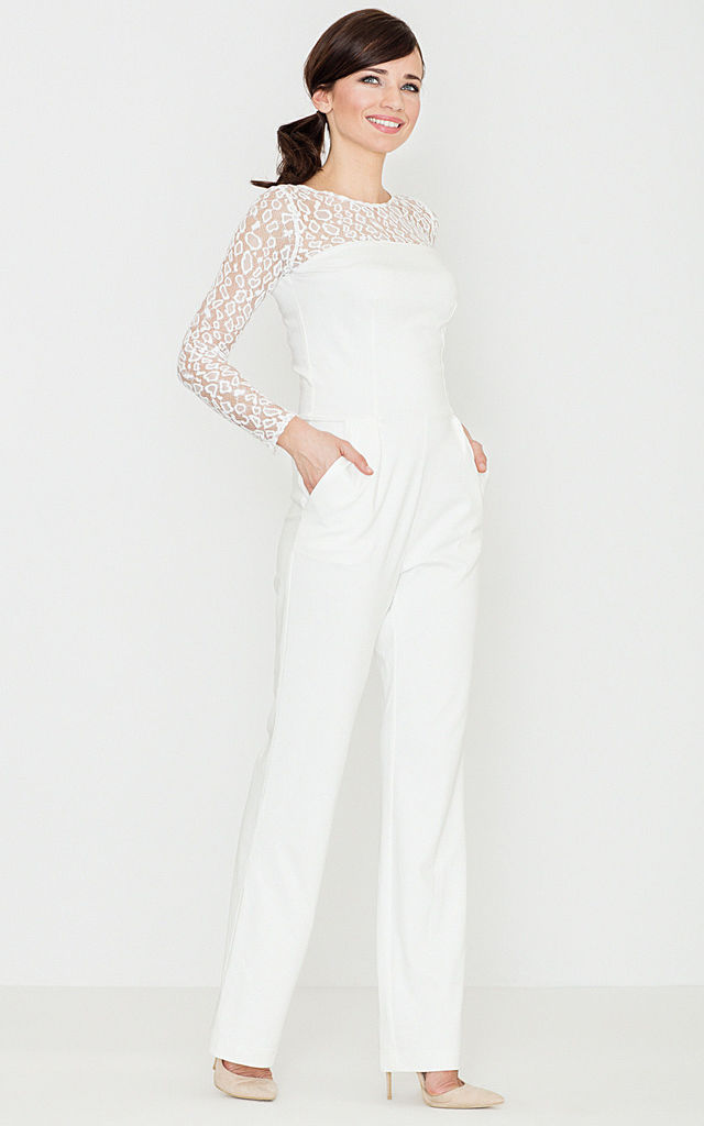Ecru Lace Sleeve Jumpsuit by LENITIF