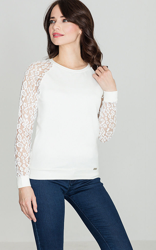 Long sleeve top with patterned sleeve in white by LENITIF