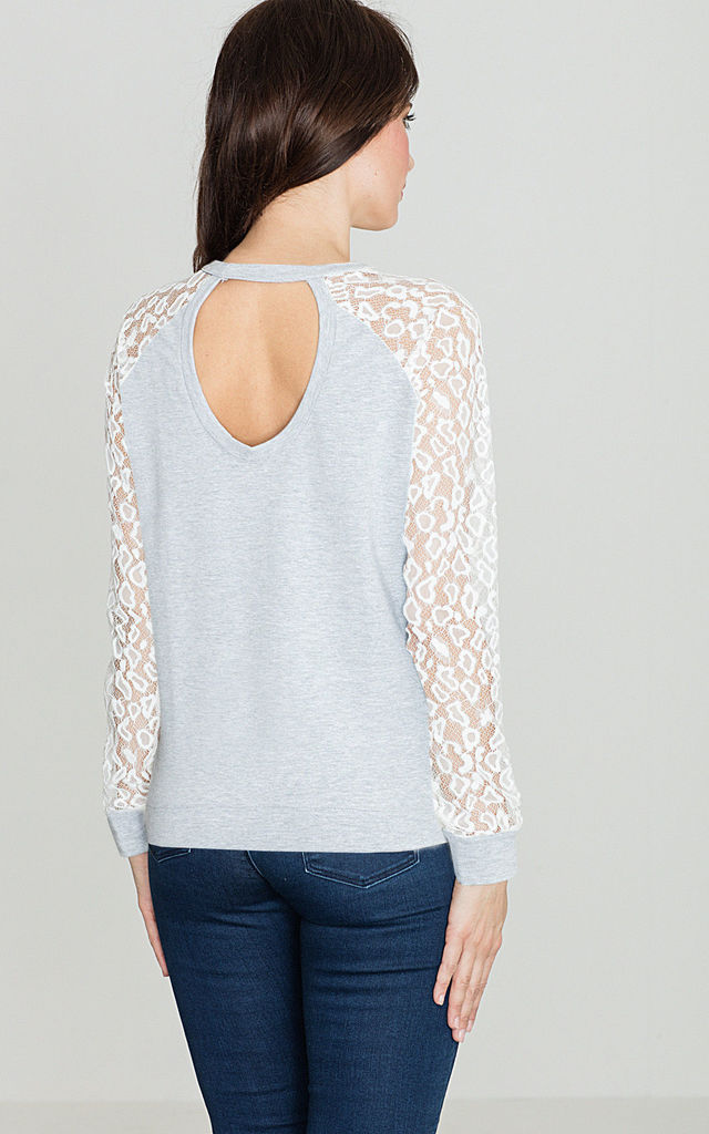 Grey Blouse with Lace Long Sleeve by LENITIF