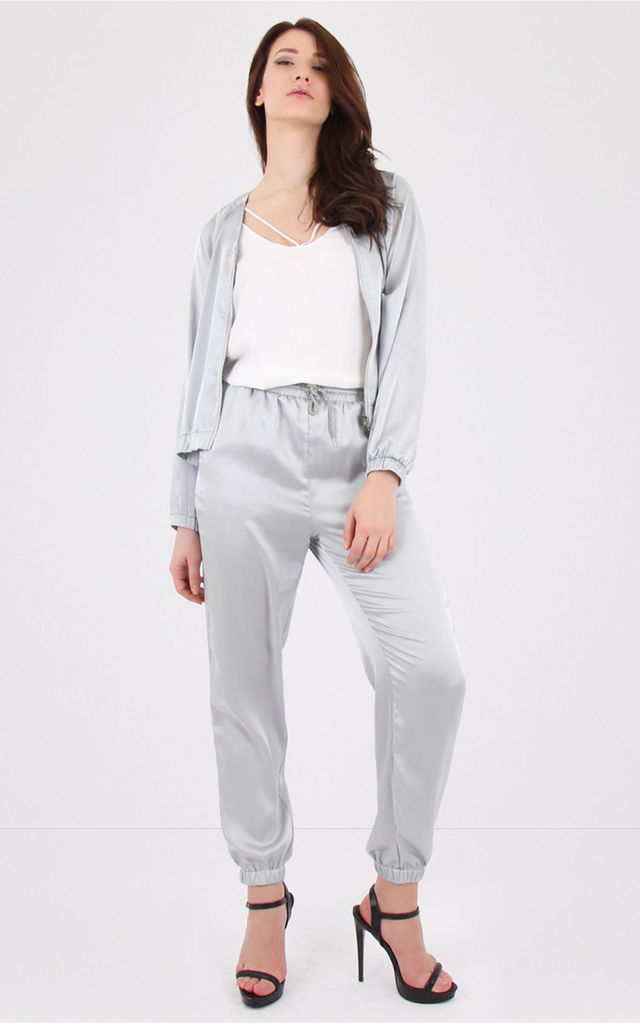Grey Metallic Jogger Trousers by MISSTRUTH
