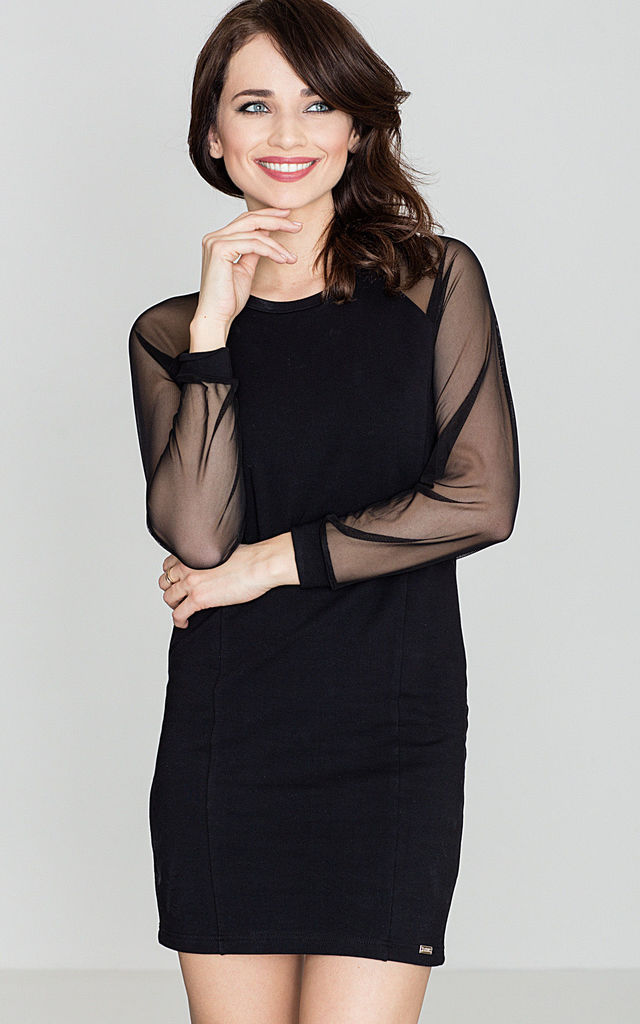 Black Sweater Dress With Mesh Sleeves by LENITIF