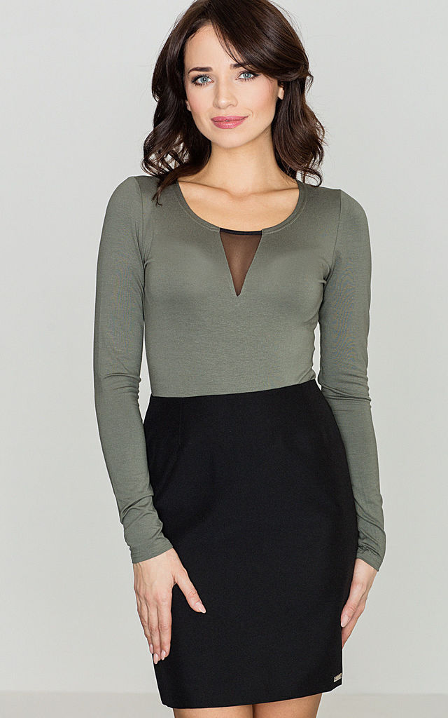 Green Long Sleeve Body with Mesh Detail by LENITIF
