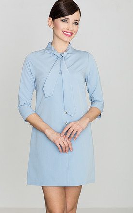 Light Blue 3/4 Sleeve Dress with Ribbon by LENITIF