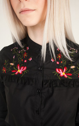 Black Embroidered Tailored Shirt by Moth Clothing