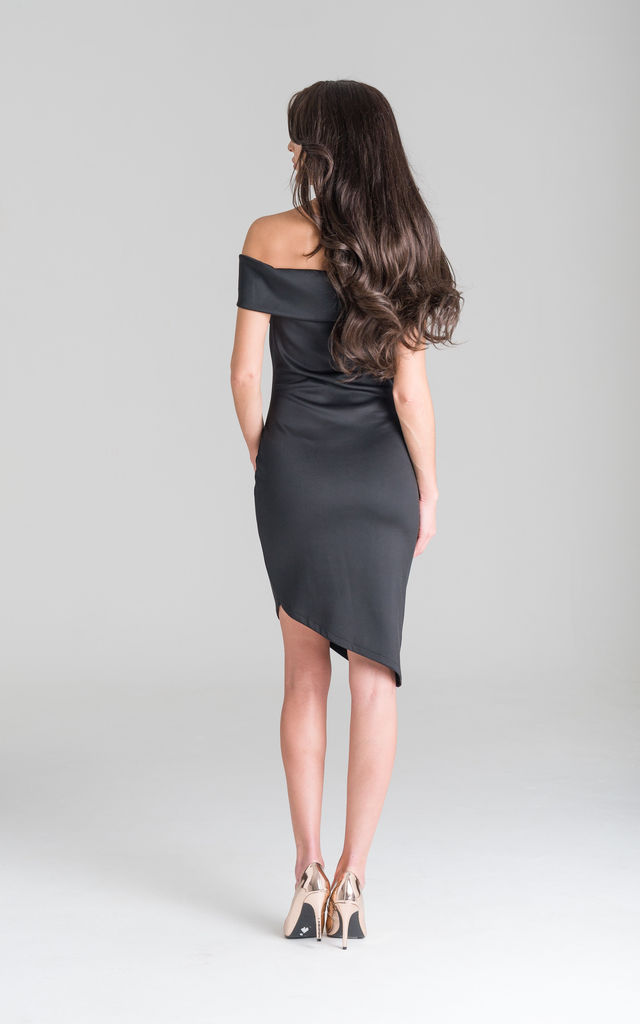 Black Fitted Asymmetric Dress by Lady Flare