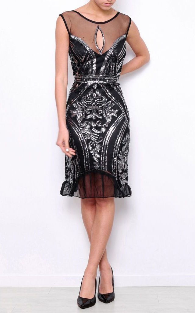 SEQUIN GATSBY EVENING MIDI DRESS by Jezzelle