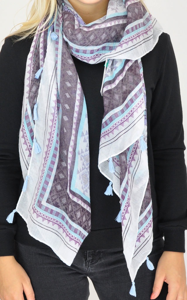 Oversized Scarf in Purple and Blue Geometric Print by GOLDKID LONDON