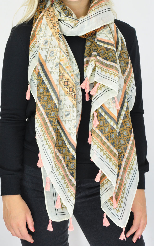 Oversized Scarf in Multi Geometric Print by GOLDKID LONDON