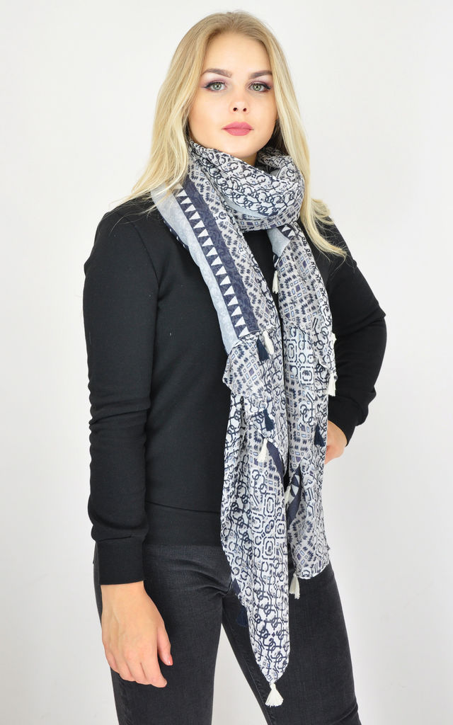 OVERSIZED SCARF IN BLUE PRINT by GOLDKID LONDON
