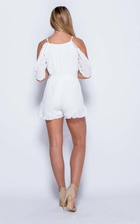 JULIA Rose Embroidered Cold Shoulder Playsuit - White by AJ | VOYAGE