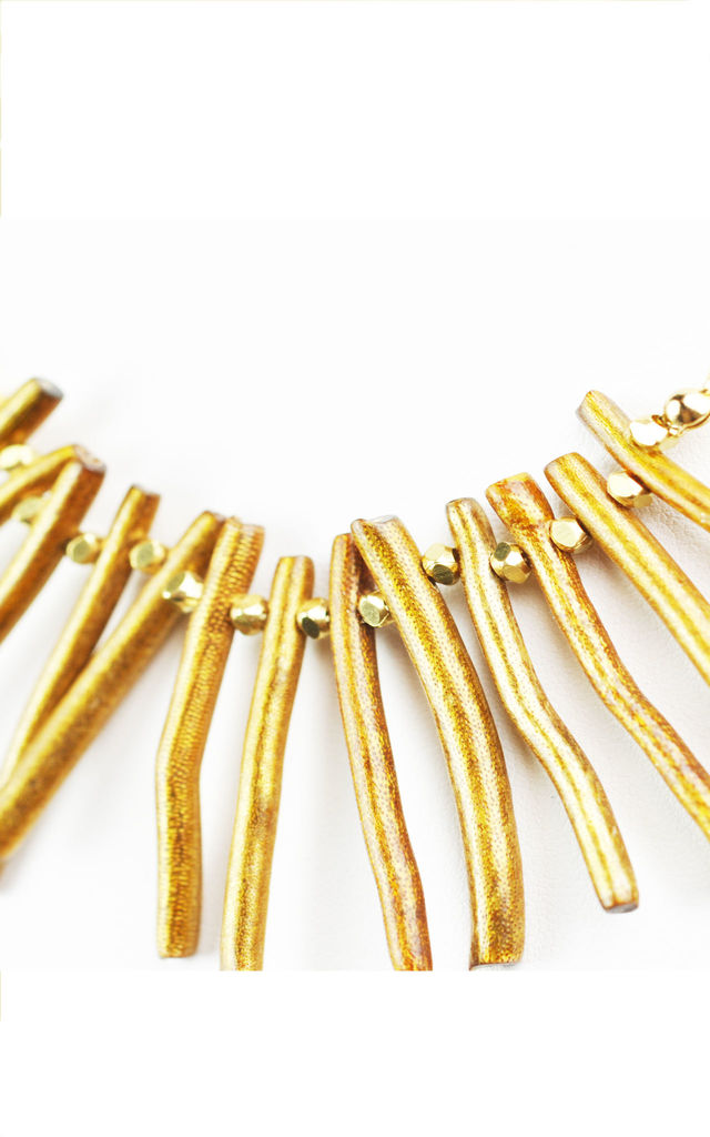 Golden Coral Branch Necklace by Gena Myint