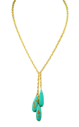 Triple Turquoise Drop Necklace by Gena Myint