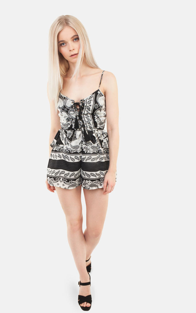 Paisley Ruffle Playsuit by Moth Clothing