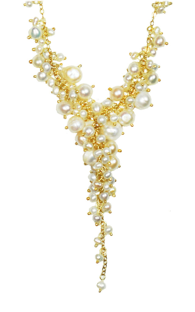 Cascading Pearl Cluster Necklace by Gena Myint
