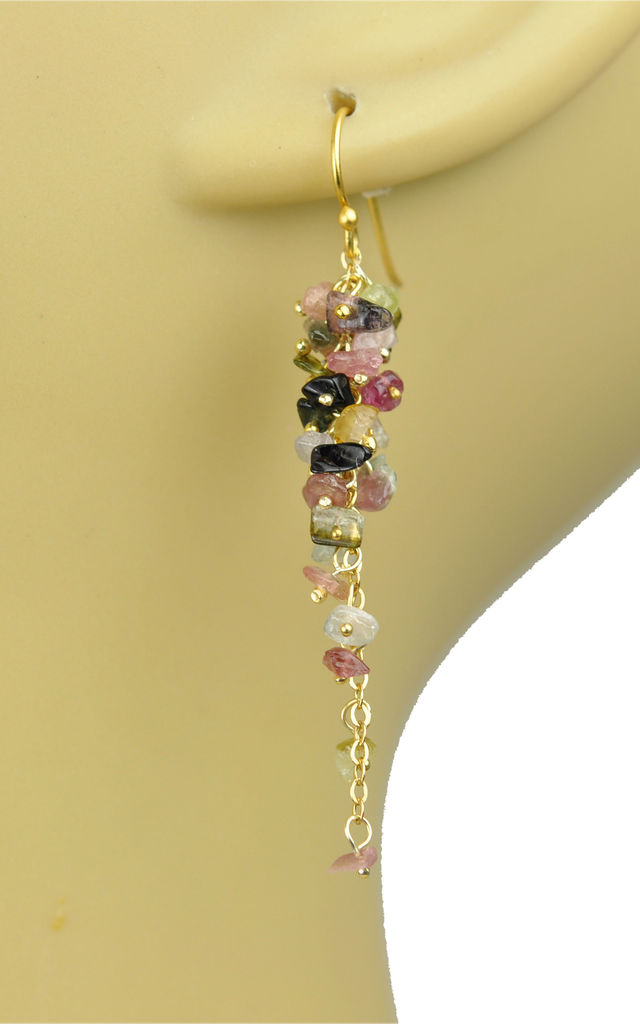 Mixed Tourmaline Cascading Cluster Vermeil Earrings by Gena Myint