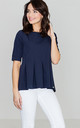 Navy Blue Pleated Blouse by LENITIF