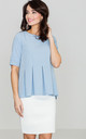 Light Blue Pleated Blouse by LENITIF