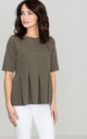 Olive Green Pleated Blouse by LENITIF