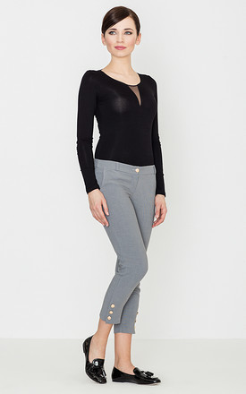 Grey Cropped Trousers with Buttons by LENITIF