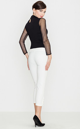 Slim Trousers with gold buttons in white by LENITIF