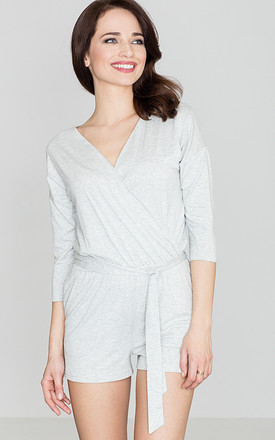 Light Grey Belted Playsuit by LENITIF