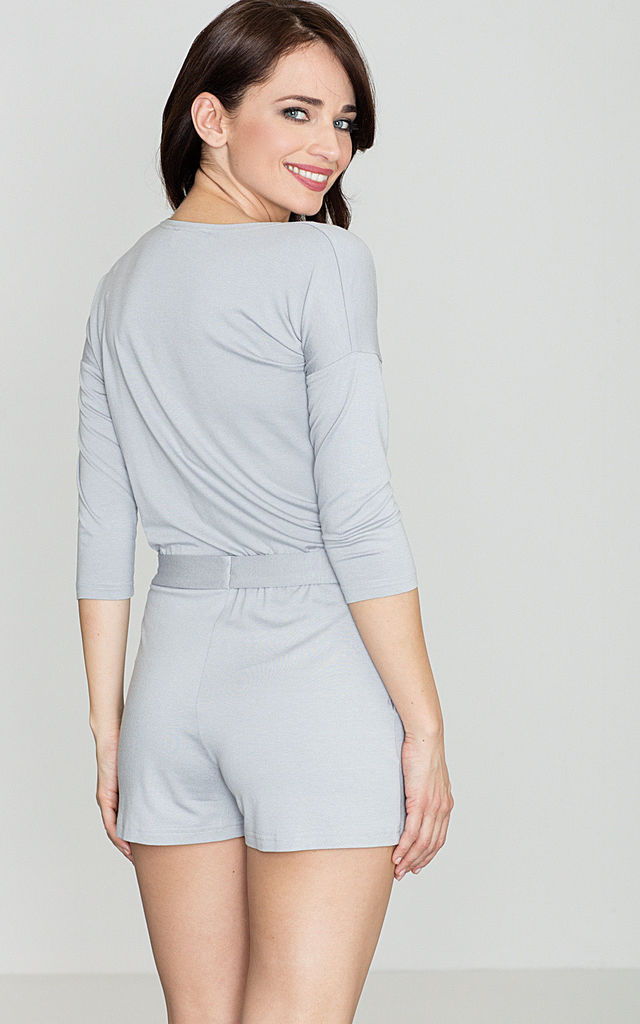 Grey Belted Playsuit by LENITIF
