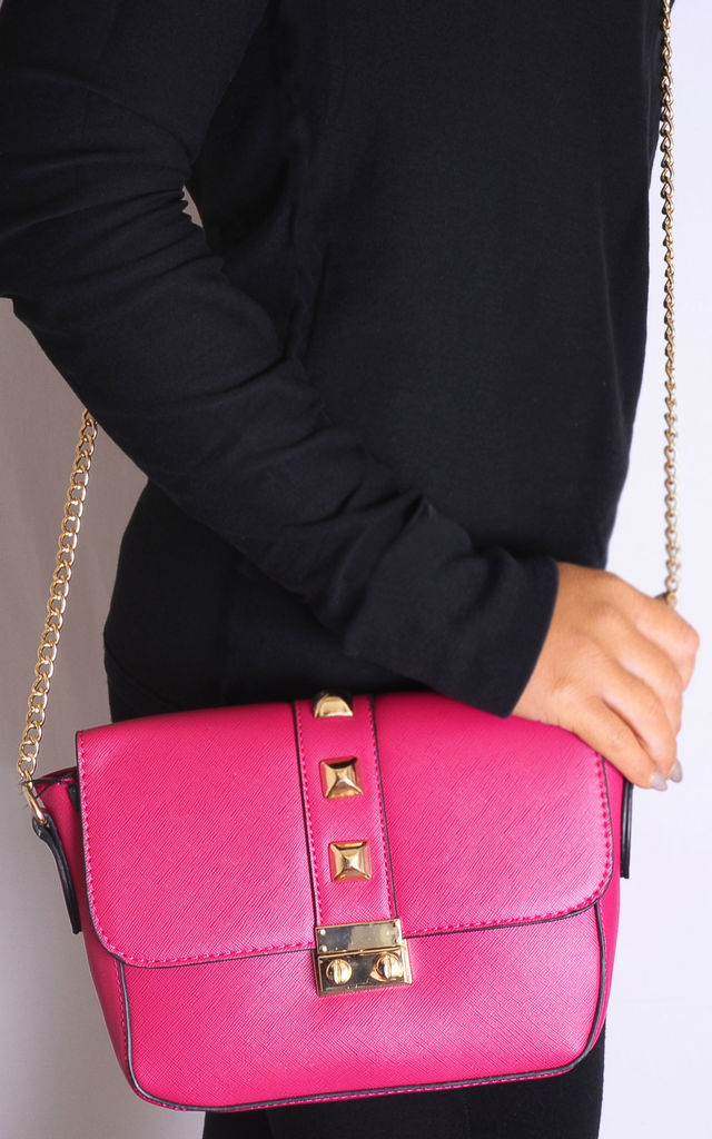 Fuchsia Pink Gold Chain Cross Body Hand Bag by Tabitha Rose