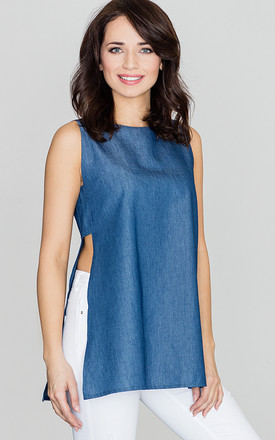 Blue Denim Top with Slits on the Sides by LENITIF