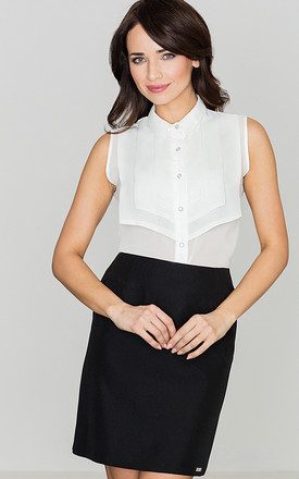 Sleeveless Shirt with bib collar in white by LENITIF