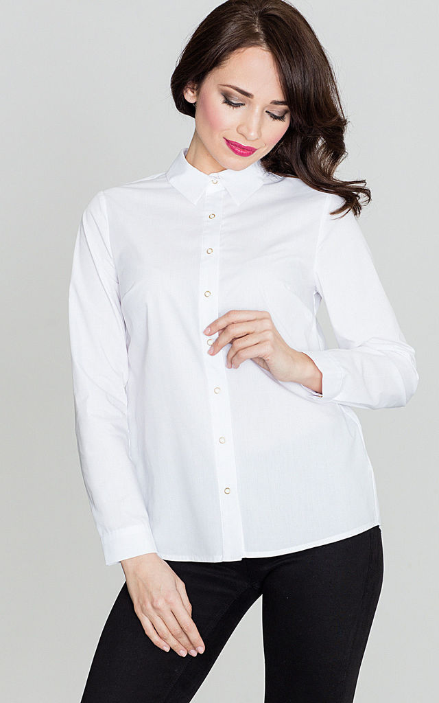 White Long Sleeve Shirt with Overlap on the Back by LENITIF