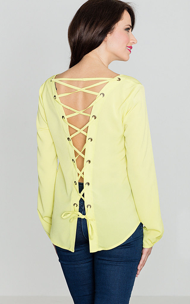 Lime Open Back Blouse with Ribbon by LENITIF