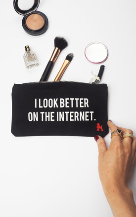 Better On The Internet Make Up Bag - Black by Rock On Ruby